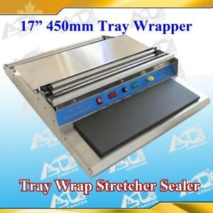 "17""   450mm Food Tray Wrapper Stretcher Film Sealer 110v new Item# 181001"