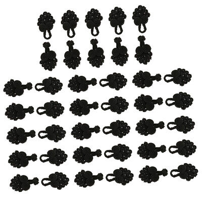 20 Sets Beaded Chinese Knot Frog Buttons Closure for DIY Clothes Decor Black