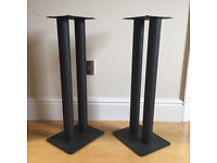 Black metal speaker stands