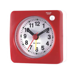 Battery Travel Alarm Clock with Snooze and Light Silent Analog Clock Red