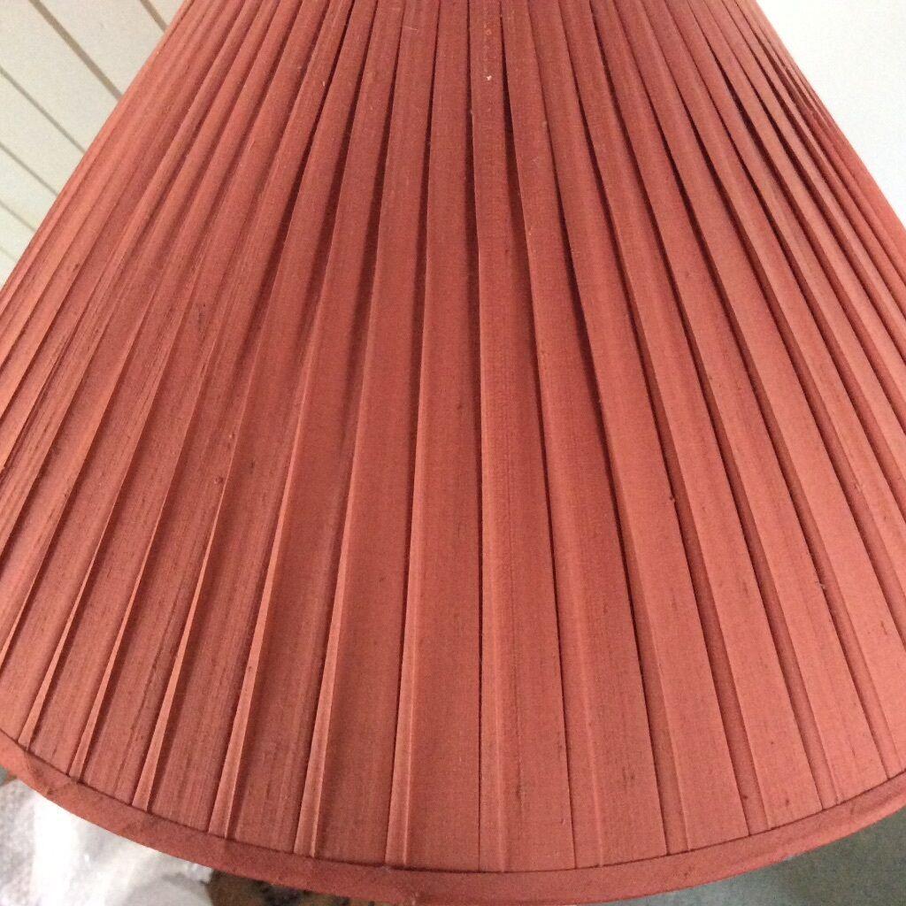 3 x lovely terracotta coloured silk pleated lamp shades vgc in 3 x lovely terracotta coloured silk pleated lamp shades vgc aloadofball Choice Image