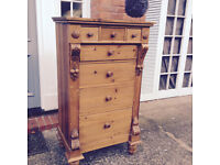 Beautiful handmade antique pine chest of drawers - storage - bedroom - cupboard - lounge