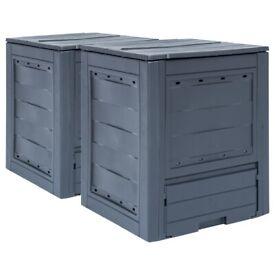Garden Composters 2 pcs Grey 60x60x73cm 520 L-278919