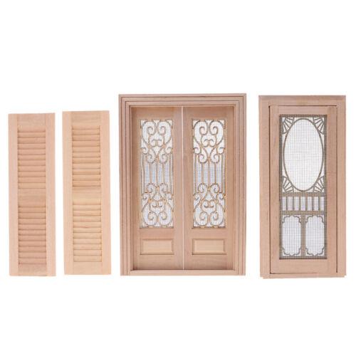 4X Wood Miniature Hollow Screen Door Shutters 1/12 Dollhouse
