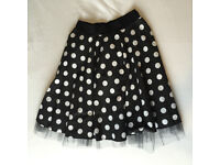 Ladies Black and White Polka Dot Skirt with net underneath 1950s style