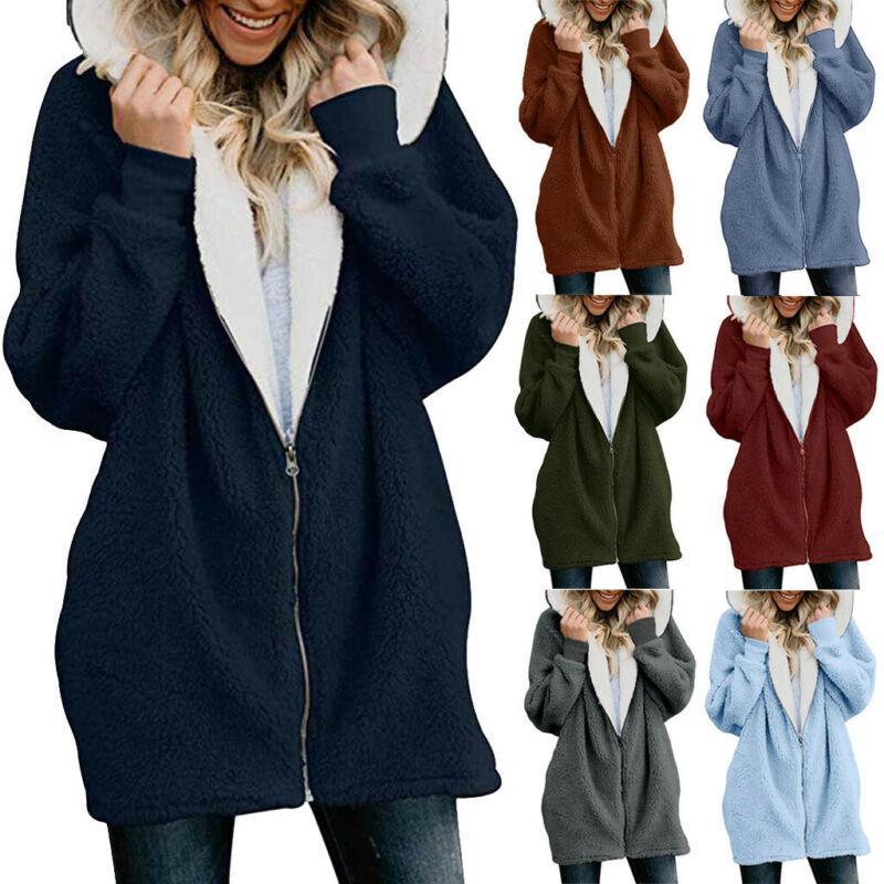 Plus Size Womens Winter Hooded Fleece Oversized Jacket Ladie