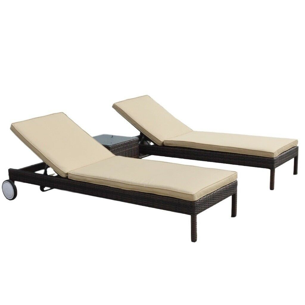 Pair of brown rattan sun loungers and side table free uk delivery