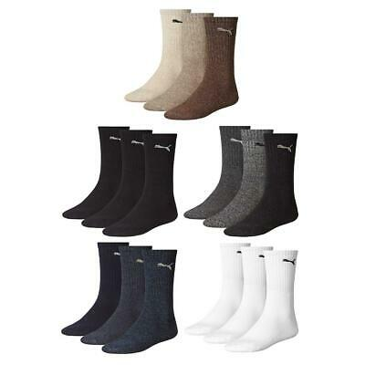 Sports Crew Socks Puma (3 Pairs) Black White All Sizes