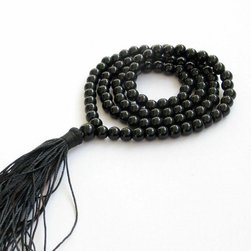 6mm Obsidian 108 Buddha Beads Tassels Necklace Buddhism spirituality MONK Lucky