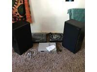 Technics 1210 Mk2 Pair with amp & American Acoustics Speaker Pair