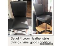 Brown leather style dining chairs