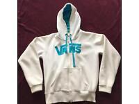 Vans women's white & blue hoodie zip jumper size L/M