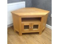 TV entertainment corner unit - Solid oak wood