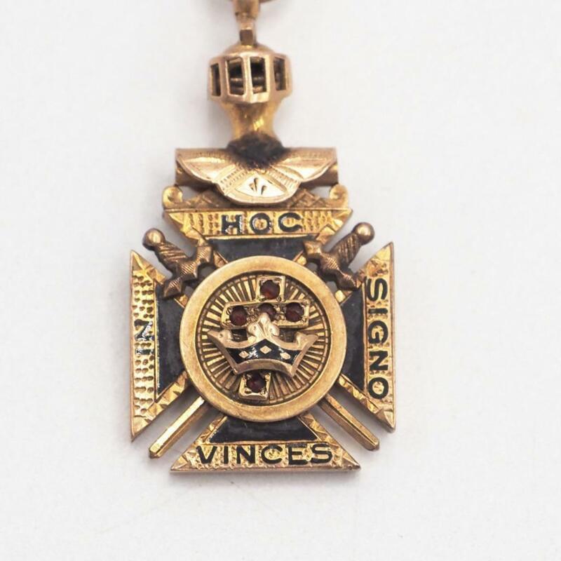 Antique In Hoc Signo Vinces Gold Pendant Fob Knights Templar Masonic