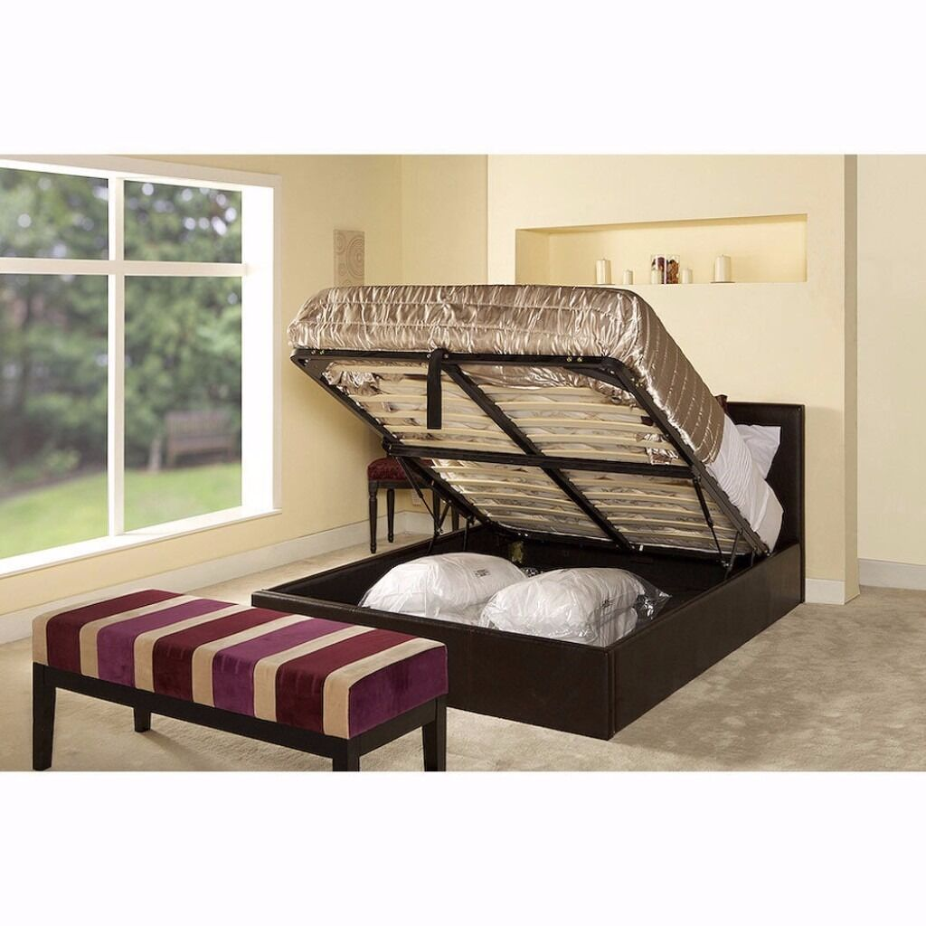 BRAND NEW DOUBLE GAS LIFT STORAGE SYSTEM BED ! OTTOMAN LEATHER BED CASH ON DELIVERY