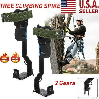 Tree Climbing Spike Set Safety Belt Adjustable Lanyard Rope Rescue Belt 2 Gears