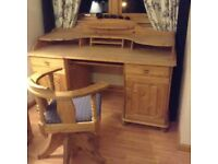 Natural Pine Wood Bureau/Desk and Swivel Chair