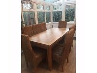 Oak Furniture Land Brown Rustic Solid Oak Extending Dining Table and Set of Eight Chairs Dining Set