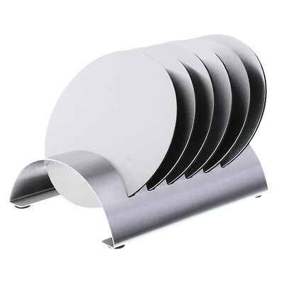 6PCS Round Table Coaster Heat-proof Stainless Steel Drink Coaster Set Silver