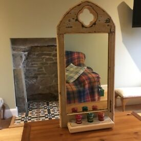Reclaimed Victorian pine wall mirror candle sconce