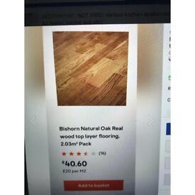 Bargain!! Bus horn Natural Oak Real Wood top layer flooring - 3.5sq m