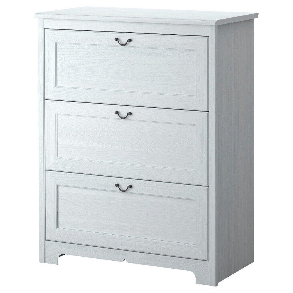 White Ikea Aspelund 3 Drawer Dresser Chest