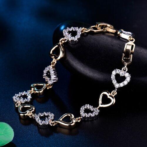 Women Cubic Zirconia Yellow Gold Filled Love Heart Bracelet
