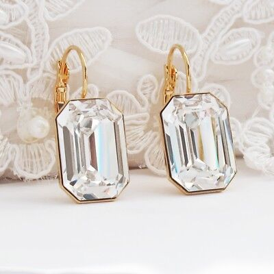 Rectangle Clear Earrings Made With CRYSTALLIZED™ Swarovski Elements Bridal Gold  Element Jewelry Rectangle Earrings