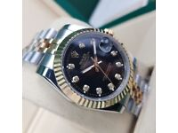 TwoTone Black Face Rilex DateJust with Diamond Markers Come Rolex Boxed with Paperwork