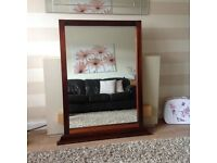 Large over mantle mahogany mirror