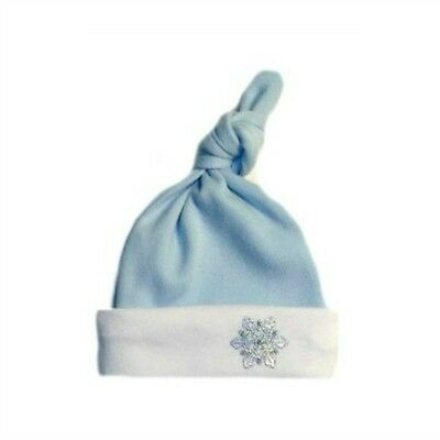 Blue Snowflake Baby Boy Knotted Hat - 6 Micro Preemie, Newborn and Toddler Sizes