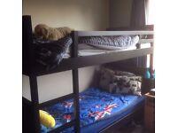 Dark brown Ikea bunk beds v. good condition (plus 1 single mattress) £70 ONO