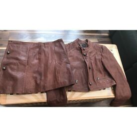 Vintage brown leather coat