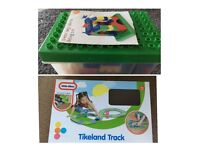 Toys in original boxes- little Tykes car track and John Lewis building blocks.