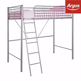 Metal High Sleeper Bed Frame, Bunk - Silver