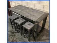 Breakfast bar/kitchen island/Furniture/industrial/Rustic/3x stools/bespoke