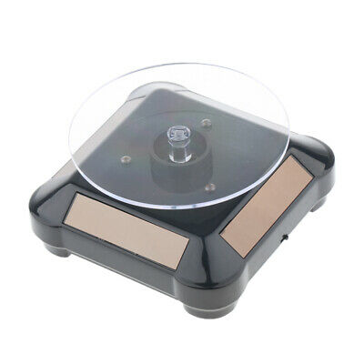 Solar Powered Jewelry Watch Rotating Display Stand Turntables Led Black
