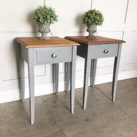 Solid Wood matching Pair Side lamp Tables / Bedside Cabinets Grey L41cm D41cm H61cm Delivery NI