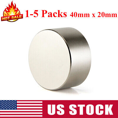 1-5pcs Large 40mm X 20mm Neodymium Rare Earth Magnet Big Super Strong Huge N52