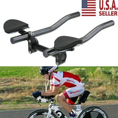 Bicycle Road Triathlon Aero Rest Handle Bar Handlebar Clip On Tri Bars UK Y3U4