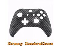 Xbox One S Wireless Controller Custom Carbon Replacement Front Shell Faceplate - New