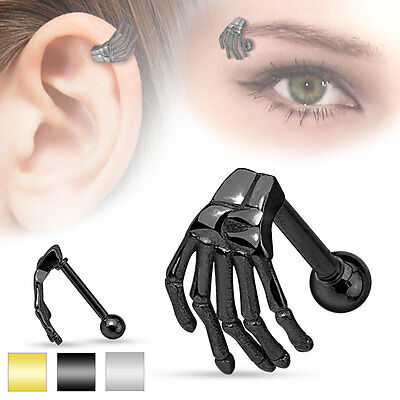 Black Eyebrow Ring - 1 Pc Black Skeleton Hand Tragus Cartilage Barbell Eyebrow Ring 16g 5/16
