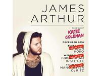 James Arthur x 2 manchester Ritz Thursday 22nd December £180 pair  07393 471927