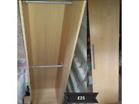 IKEA SINGLE DOOR WARDROBE WITH 2 HANGING BARS