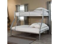 BRAND NEW TRIO METAL BUNK BED WITH MATTRESS OPTION- black/white and silver SAME DAY EXPRESS DELIVERY