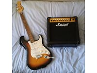 Guitar and Amp (barely used) - Marshall MG15DFX Combo Amp + Squier by Fender Affinity Stratocaster