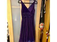Gorgeous Flattering Phase Eight Silk Dress Outer & Satin Inner Size UK 8 Purple