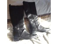 real leather knee high black boots size 5