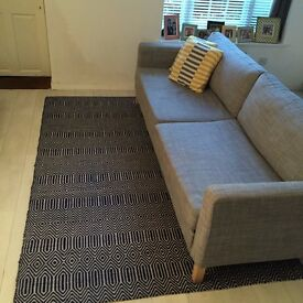 Blue & White Hand Woven Wool and Cotton Rug