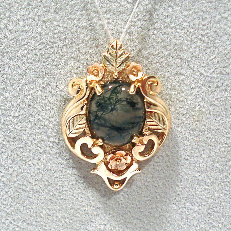 SOLID 10K YELLOW, ROSE & GREEN GOLD MOSS AGATE  PENDANT